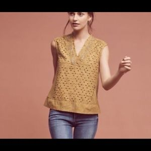 Anthropologie akemi + kin cadiz mustard top XS
